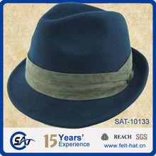 100% wool felt blue bird trilby fedora hat
