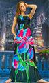 um ombro big flor nova moda maxi longa praia casual clássico alta qualidade senhoras vestidos