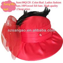 OEM/Customized new fashion Red wide brim church hats wool as feathers felt dance warm caps 100% wool felt wear for girls/kids