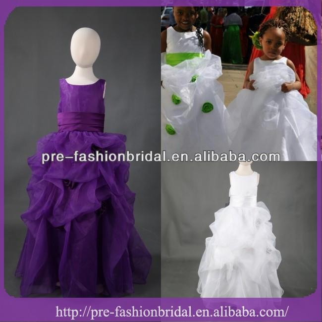 Muestras verdaderas púrpura blanco niña de las flores vestidos