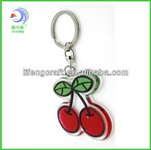 Wholesale custom lovely cherry shaped plastic key chain, cheap custom keychain for promotion(LF-023)
