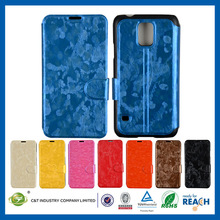 C& T Latest leather flip case for samsung galaxy s5