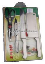 5pcs kitchen knife,fruit knife,opener,scissor,bamboo board Flatware Sets