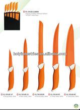 Colorful 5pcs coating kitchen knife with wood block
