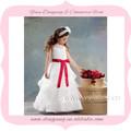 pura de la tripulación del cuello una línea niveles falda niña vestido de flores de la cinta de la hoja de color rojo