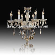 Dy2101-6 Cognac color 6 luces de vidrio tubo de vidrio venta al por mayor araña de cristal prisms