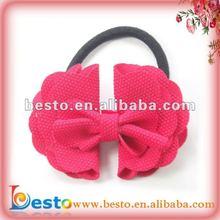 CF 0238 girls women custom fashion mini red flower bow elastic handmade felt hair band