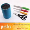 Coloured PP handle kitchen knife with scissor in block