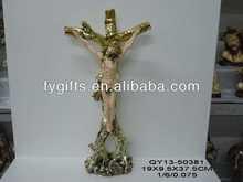 Resin electronic plating golden color religious home decor craft ,garden crafts cross crucifix