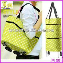 Fashion Women Lady Large Trolley Shopping Bag Dual Wheel Foldable Shopping Bag Cart
