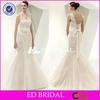 one shoulder lace applique detachable sash mermaid open back champagne colored wedding dresses XL615