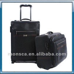 2014 newest business man design style genuine leather good quality trolley luggage