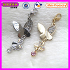 Golden or silver double butterfly crystal charm pendant #8642