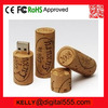 wooden cork usb memory with embossing logo for wine promotional gifts