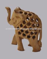 Handicraft Traditional Handmade Decorative Hand Carved Wooden Elephant