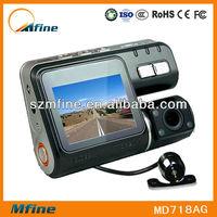 "2.0"" full mini hd gps 720p car black box with gps recorder dual camera motion detect car dvr recorder camera with g-sensor"