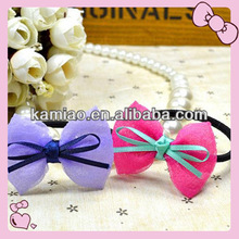 2014 hot school girl hair bows flat elastic band
