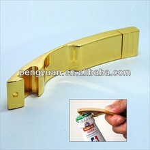 OEM promotional Gift metal golden beer bottle opener usb pendrive with logo