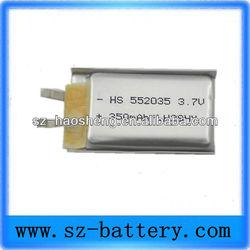 Lithium ion polymer battery lipo battery 552035 350mah 3.7v lipo battery connector
