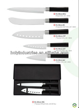 5 pcs non-stick coating kitchen knife with black handle