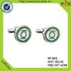 top Quality custom Enamel green round cufflink for mens shirts
