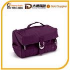 Plum purple flip-top 2-in-1 polyester cosmetic bag for lug travel