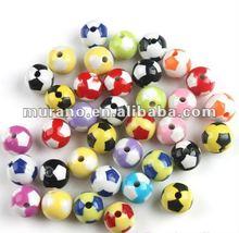 Multicolor Football Round Acrylic Beads 12mm