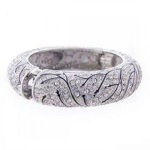 Bracciale di cristallo, strass spianare vite design, cerniera braccialetto, chiaro ecs048256