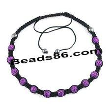 shamballa necklace,handmade crystal pave beads necklace 10mm shamballa beads cb11-3