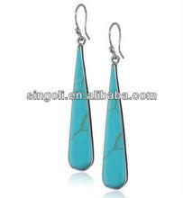 Sterling Silver Turquoise Inlay Long Teardrop Earrings 2014 wholesale cheap stud Earrings fashion jewelry