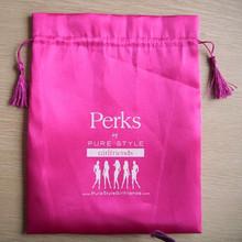 Rose red satin pouch underwear bag with tassel