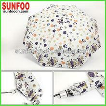 Aluminium 3 folding fancy umbrellas for sun