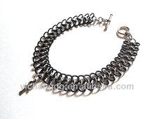 Handmade Black and sliver Chainmaille Bracelet