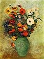 hecho a mano moderna decoración abstracta de la flor en el florero de pintura al óleo sobre lienzo