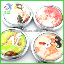 High Quality Zinc Alloy Make Up Mirror Compact Mirror Souvenir(LY-CM-183)