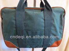 Blue/Green Canvas & Brown Leather Laptop/Briefcase/Messenger/Shoulder Bag