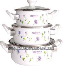 3pcs straight type enamel casserole/pot,glass lid,glue wood Handle handle