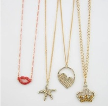 crystal metal various pendant necklace lip starfish crown charm necklace women link chain necklace