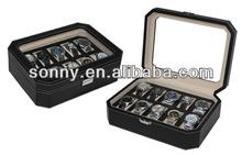 Innovative Octagonal Design Black PU Watch Box Fathers Day Wholesale Gifts