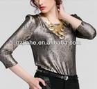 2014 elegant design Round collar golden printing knitting t-shirts