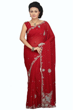 Indian bollywood designer heavy saree bridal wear marriage sari beautiful red heavy saree party wear function wear 11086d