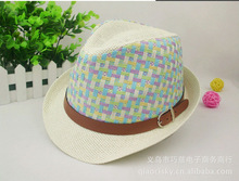 2014summer newest european and american fashion wild sunscreen color lattice color matching straw hats