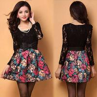 Korean Elegant Women's summer dress Painting flowers Print Pattern Splicing Lace + Woolen Dress With Belt 11689
