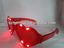 BEst selling Crazy amazing plastic LED flashing luminous/fluorescent heart shapeparty glasses