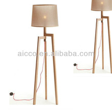 Modern Wooden Floor Lamp With Red Cord