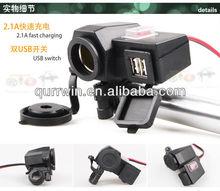 Motorcycle 12V/24V Cigarette Lighter Power 5V USB Port Integration Outlet Socket