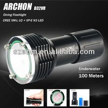 Most Powerful ARCHON D32VR XM-L U2 + XP-E N3 LED Underwater Professional Diving Flashlight