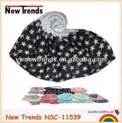 Black and white star& polk dots printing scarf shawl