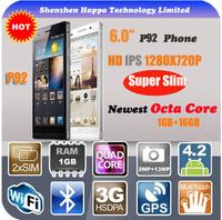 6.0inch smartphone mtk6592 HD IPS 1280 x 720 RAM 1G ROM 16G MT6592 Octo Core 3G WCDMA