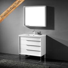 Bath furniture solid rubber wood modern white high gloss bathroom vanity